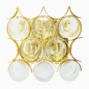 Wall Sconce in Gilded Brass and Crystal Glass by Ernst Palme for Palwa, 1960s