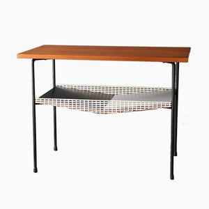 Table d'Appoint Mid-Century Moderne en Placage de Teck et Métal Perforé