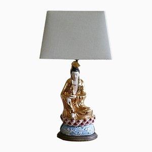 Chinesische Porzellan Tischlampe mit Figur, 1950er