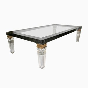 Large French Lucite, Wood, and Lacquer Coffee Table, 1970s