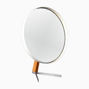 Specchio da tavolo grande Mid-Century in metallo e teak di Elliots