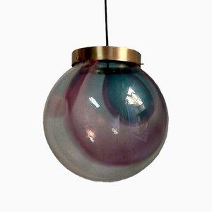 Lámpara italiana Mid-Century grande esférica de cristal de Murano, años 70
