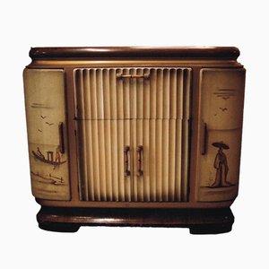 Mobile bar Discofono Olimpic dipinto a mano, anni '50