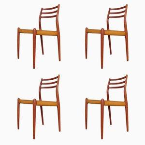 Vintage Modell 78 Teak Stühle von Niels Otto Moller, 4er Set