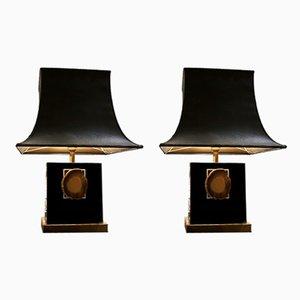 Lampada da tavolo in metallo laccato e agata, anni '80, set di 2
