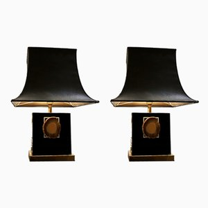 Table Lamp in Lacquered Metal and Agate, 1980s, Set of 2