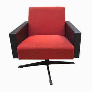 Italian Swivel Armchair in Faux Leather, 1950s