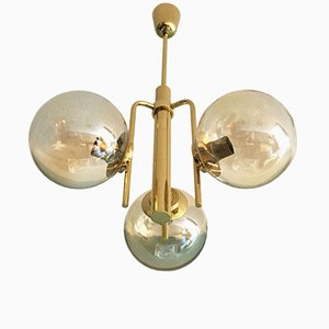 3-Arm Brass Chandelier, 1960s