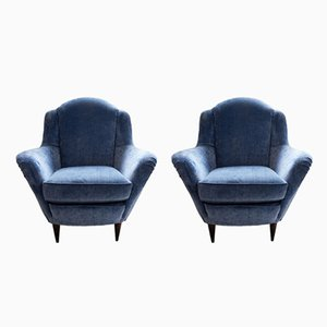 Armchairs in Light Blue Velvet, 1950s, Set of 2