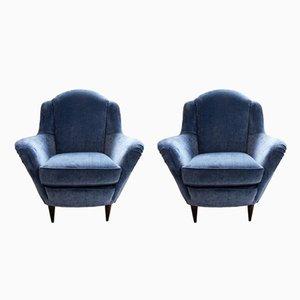 Sessel aus Hellblauem Samt, 1950er, 2er Set
