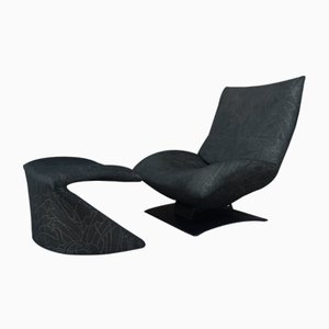 Vintage The Wave Lounge Chair & Ottoman by Peter Van Der Ham for Artifort