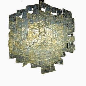 Lampadario modulare in vetro opalino di Carlo Nason per Mazzega, anni '60