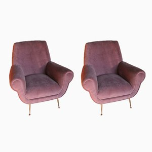 Armchairs in Cotton Velvet by Gigi Radice for Minotti, 1950s, Set of 2