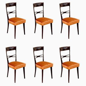 Sculptural Dining Chairs in Velvet, 1950s, Set of 6