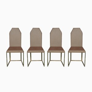 Vintage Brass & Copper-Colored Fabric Chairs, Set of 4