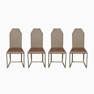 Vintage Stühle aus Messing & Kupferfarbenem Stoff, 4er Set