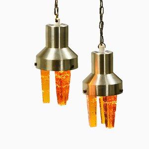 Lampade a sospensione color ambra di Claus Bolby per Cebo Industries, anni '70, set di 2