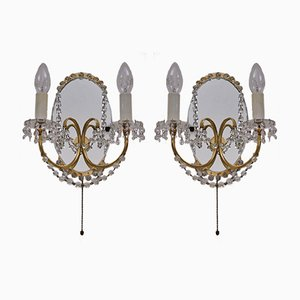 Brass & Mirror Sconces, 1940s, Set of 2
