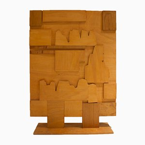 Paravento Mid-Century in legno