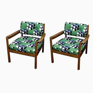 Gepolsterte Vintage Armlehnstühle, 2er Set