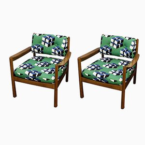 Vintage Upholstered Armchairs, Set of 2