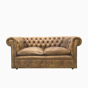 English Brown Leather Chesterfield Two-Seater Sofa, 1960s