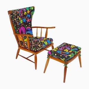 Sessel & Fußhocker aus Kirschholz von Anna-Lülja Praun, 1950er
