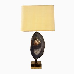 Table Lamp in Gilted Brass and Agate by Willy Daro, 1970s