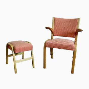 Bow Wood Armlehnstuhl mit Fußhocker von Wilhelm Von Bode für Steiner, 1950er