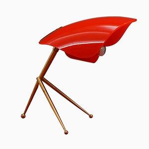 Lampada da tavolo con paralume rosso, anni '50