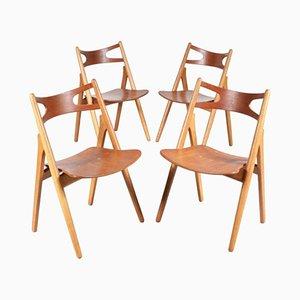 Chaises de Salon Tréteau CH29 Mid-Century par Hans J. Wegner pour Carl Hansen & Son, Set de 4