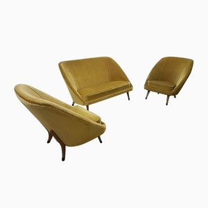 Mid-Century Velvet Sofa & Easy Chairs, Set of 3