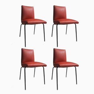 Leatherette Chairs by Pierre Guariche for Meurop, 1950s, Set of 4