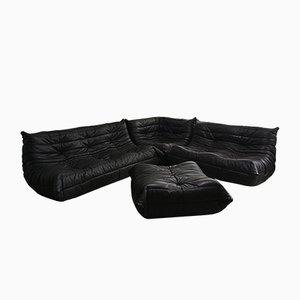 Braunes Vintage Leder Togo Sofa Set von Michel Ducaroy für Ligne Roset