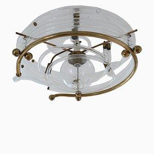 Lampada da soffitto vintage in vetro ed ottone