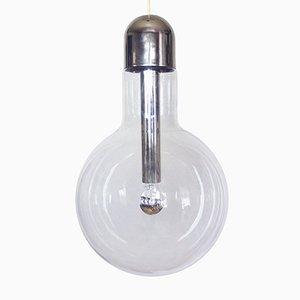 Lámpara colgante de bombilla de vidrio y cromo de Temde, años70