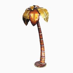 Lámpara de pie estilo Hollywood Regency en forma de palmera, años 70