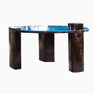 Table Basse Blue Moon en Cuir Patiné à la Main par Privatiselectionem