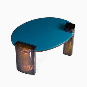 Hand-Patinated Copper Blue Moon Coffee Table by Privatiselectionem