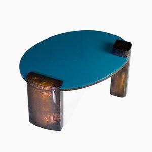 Mesa de centro Moon de cobre pintada a mano en azul de Privatiselectionem