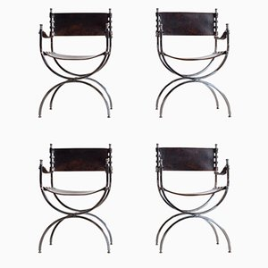 Savonarola Emperor Chairs by Maison Jansen, 1970s, Set of 4