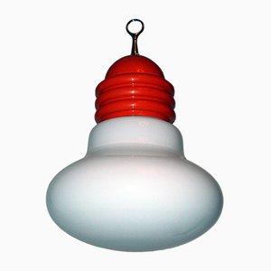 Lámpara colgante italiana de vidrio opalino
