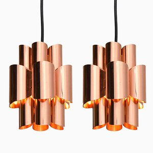 Vintage Small Pendant Lights in Copper, Set of 2