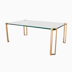 Table Moderniste en Laiton et Verre par Peter Ghyczy, 1970s
