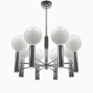 Lámpara de araña italiana Mid-Century de 8 brazos cromados, años 60