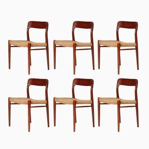 Chaises de Salon Modèle 75 Mid-Century par Niels Otto (N.O.) par Møller pour J.L. Møllers Møbelfabrik, 1960s, Set de 6
