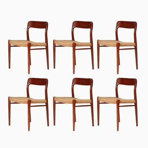 Model 75 Mid-Century Dining Chairs by Niels Otto Møller for J.L. Møllers Møbelfabrik, 1960s, Set of 6