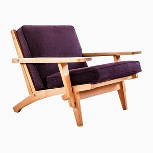 GE 375 Lounge Chair in Teak and Fabric Cushions by Hans J. Wegner for Getama, 1962