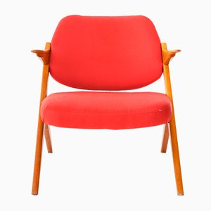 Armchair in Teak and Red Fabric by Bengt Ruda, 1962