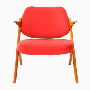 Butaca de teca y tela roja de Bengt Ruda, 1962